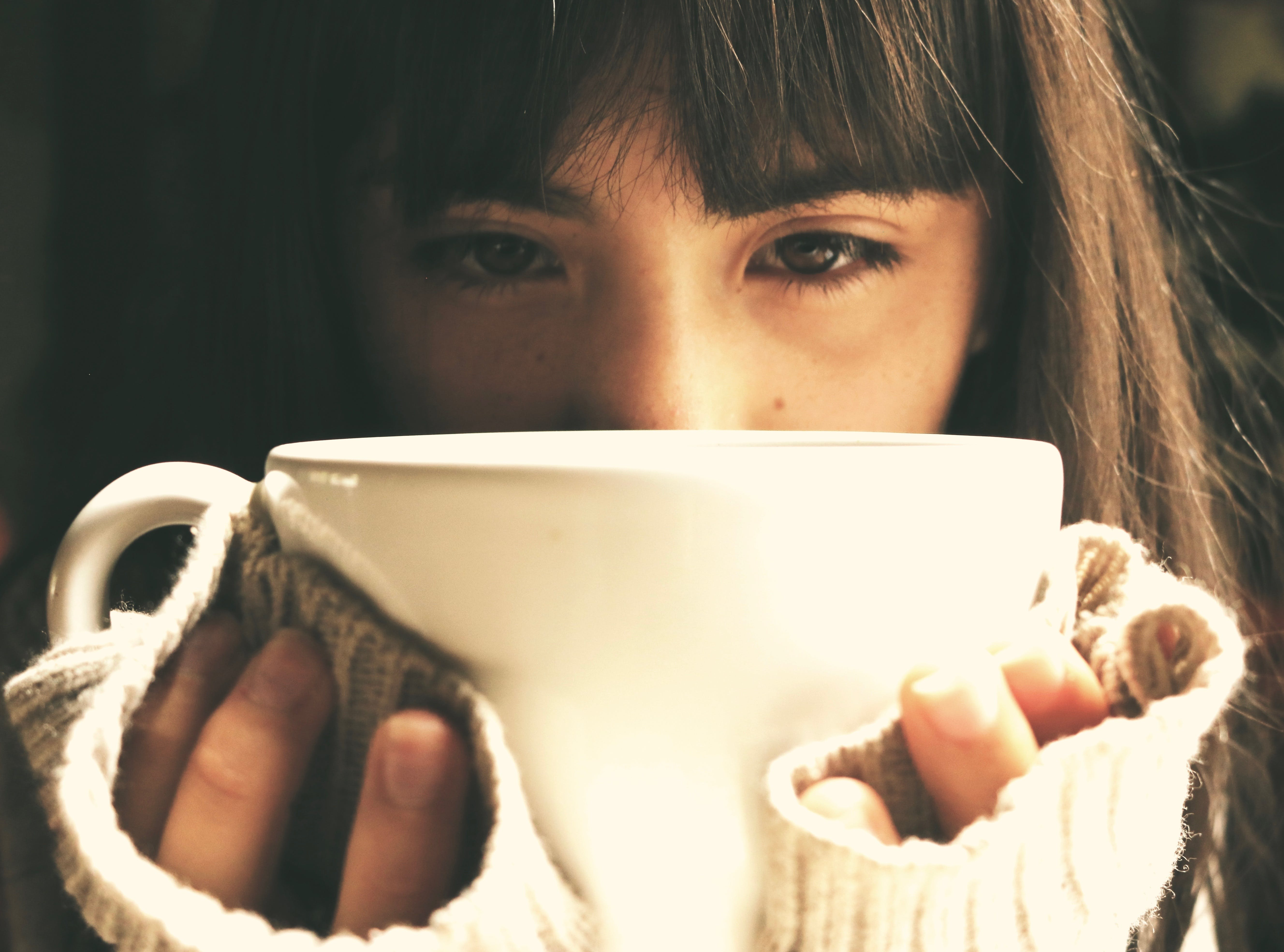 close -up, cup, eyes