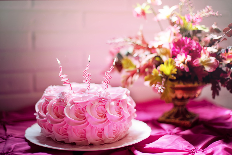 Pink Flower Cake Free Stock Photo