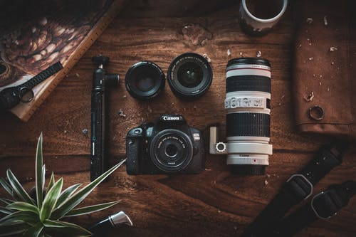 Free stock photo of camera, photography, table, wood