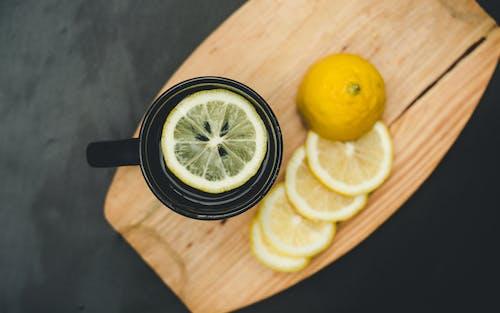Lemon Slice in Black Ceramic Mug