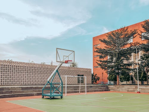 Sports ground with basketball hoop