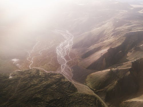 Aerial View of Mountains and a Valley