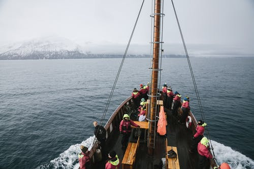 From above of unrecognizable people in similar outerwear standing on modern sailboat and admiring sea and mountains in winter day