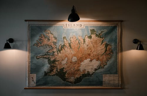 Old map of Iceland on wall