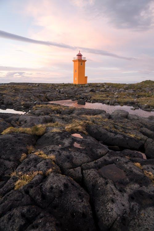 Grindavik orange lighthouse on fine day in Iceland