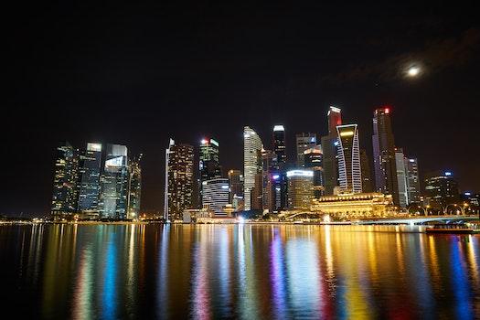 Free stock photo of city, lights, water, skyline