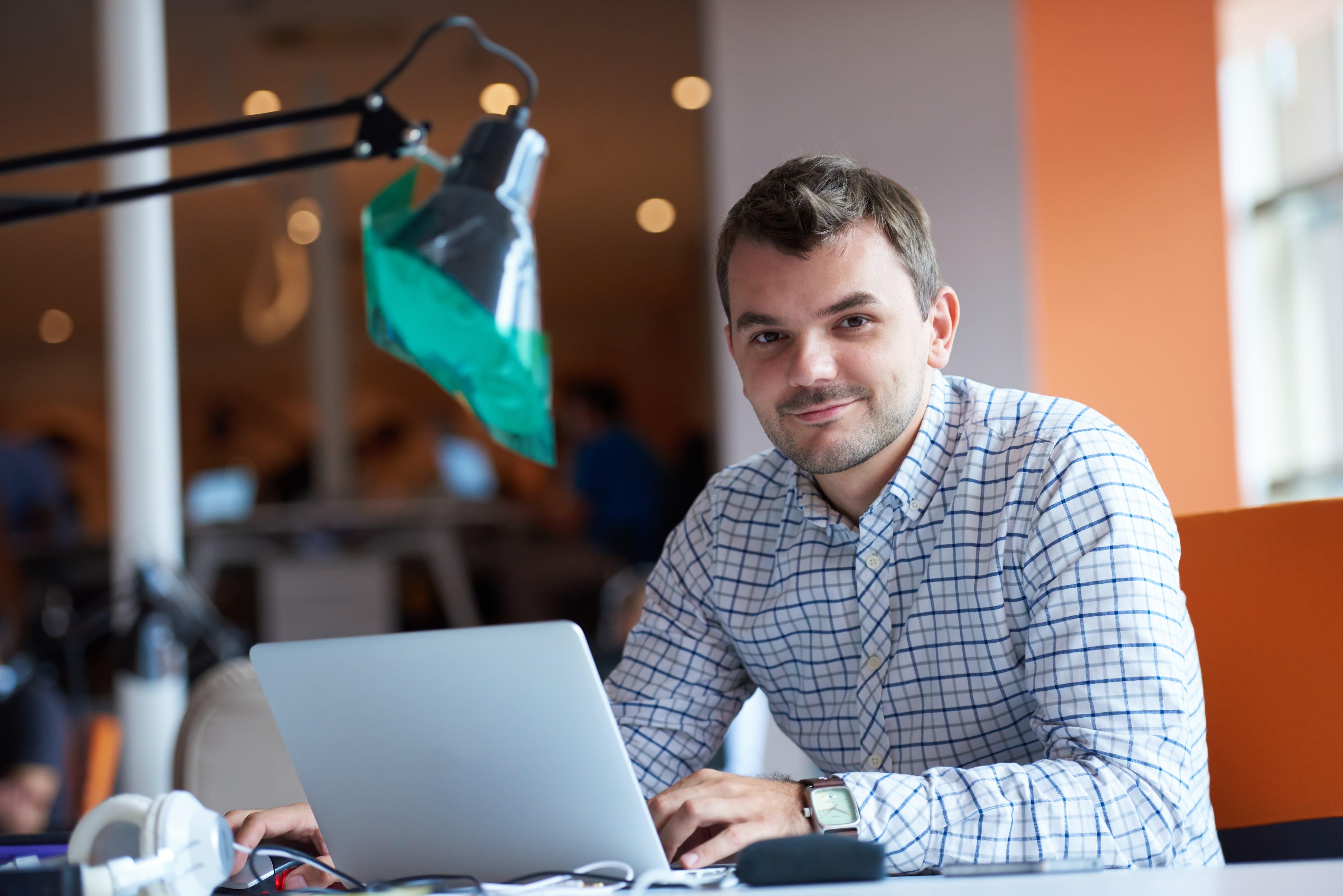 computer, entrepreneur, man