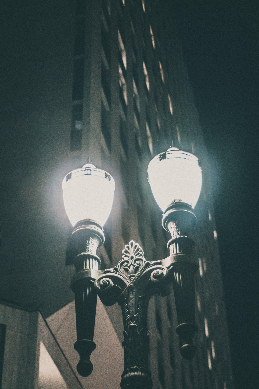 가로등, 거리, 건물