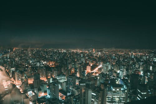 Top View of City Lights Under Night Time