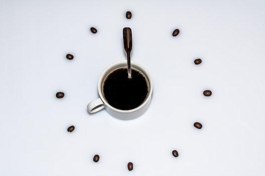 Kostenloses Stock Foto zu koffein, kaffee, tasse, löffel