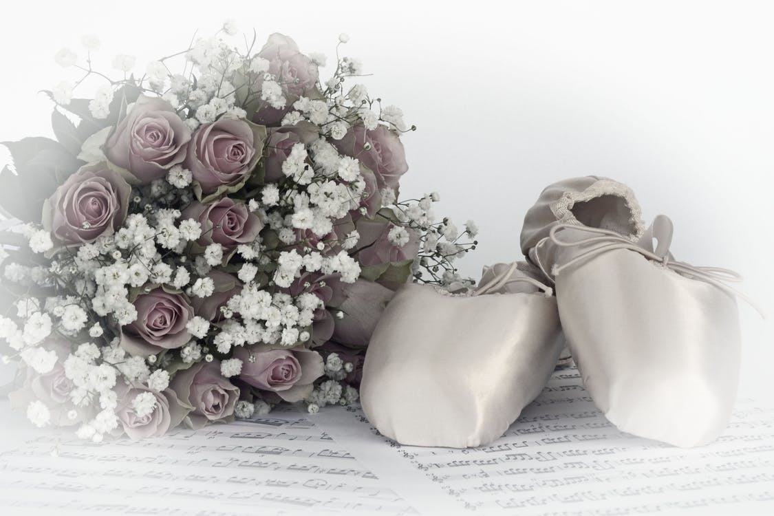 ballet shoes, bouquet of roses, coupon