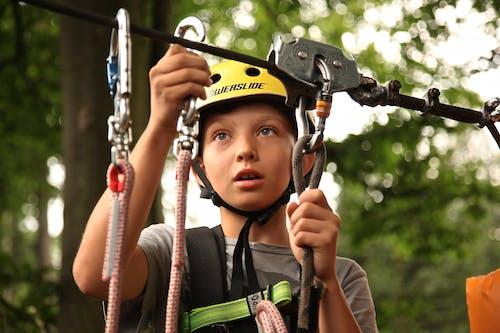 Kostenloses Stock Foto zu baum, bergsteiger, helm, jung