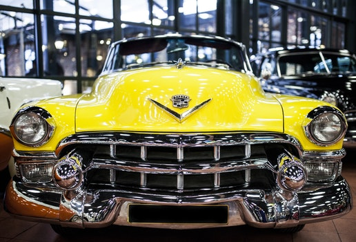 Free stock photo of yellow, car, vehicle, chrome