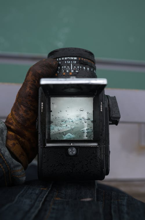 Unrecognizable photographer taking photo camera