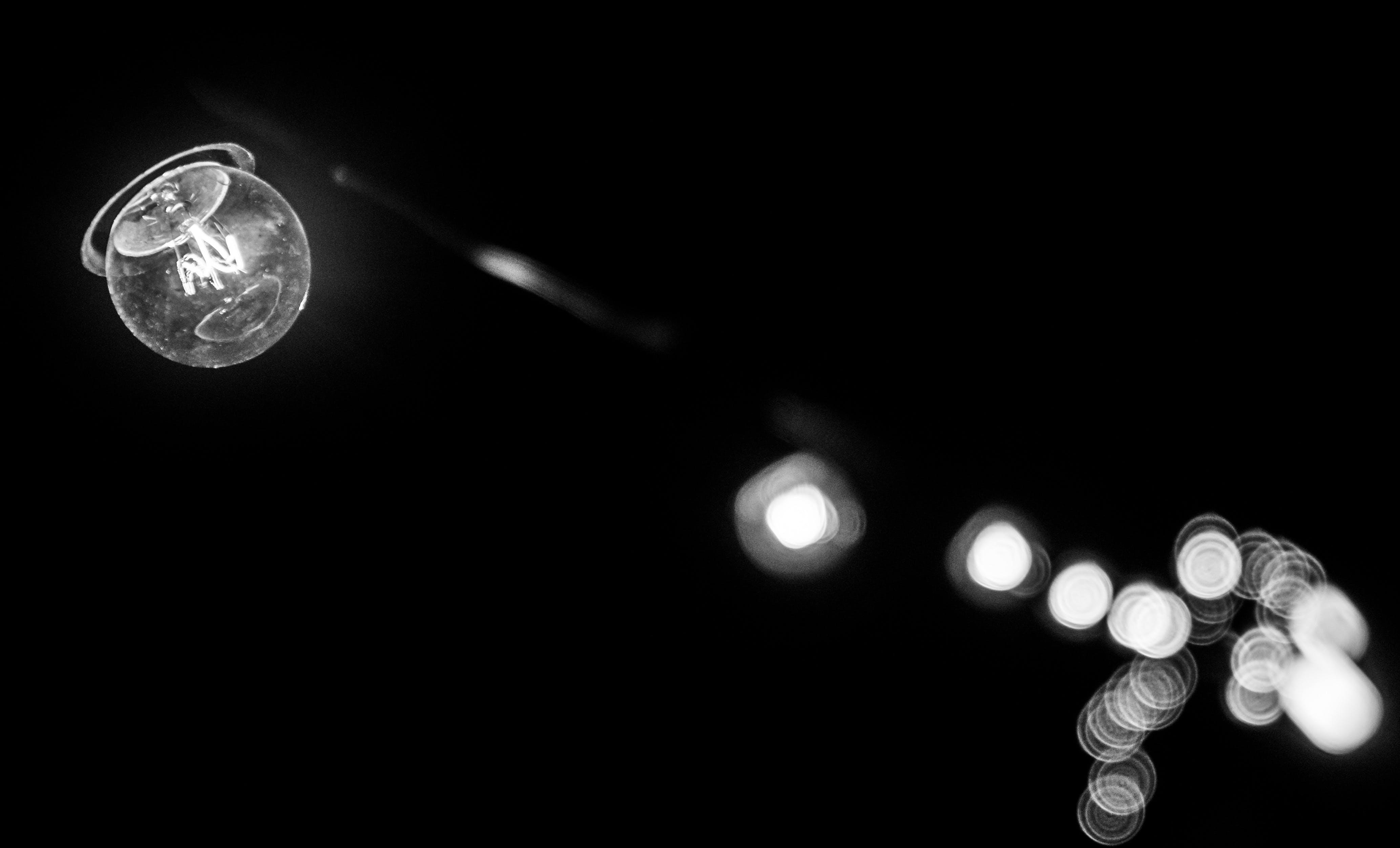 Free stock photo of light, black-and-white, night, bokeh