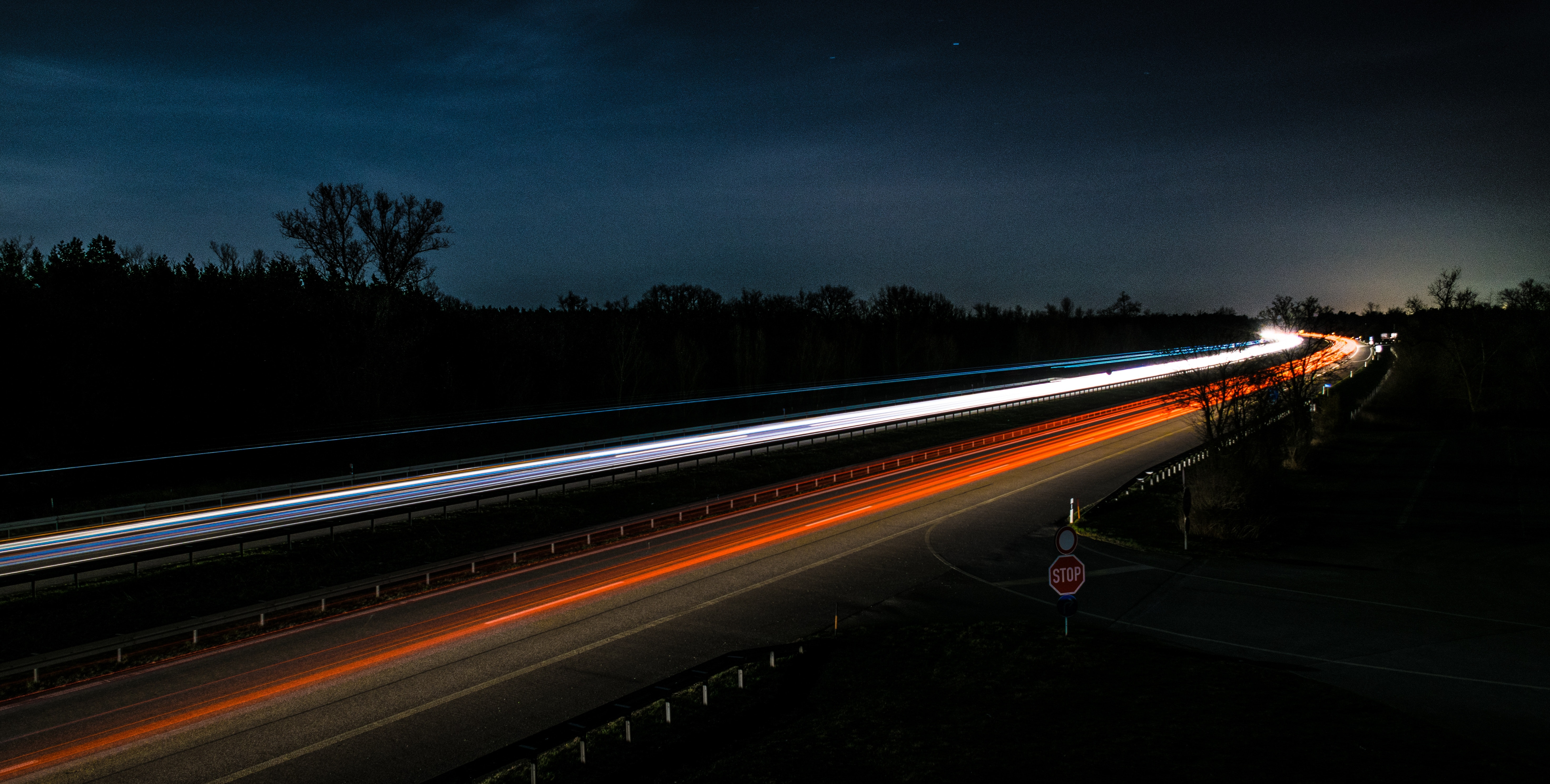 Light Trails On Highway At Night 183 Free Stock Photo