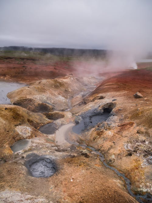 Area with geysers releasing steam