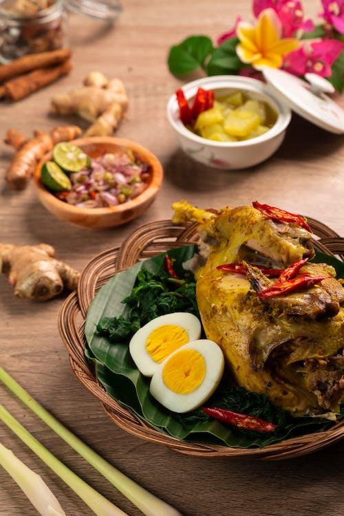 Healthy food on dinner table