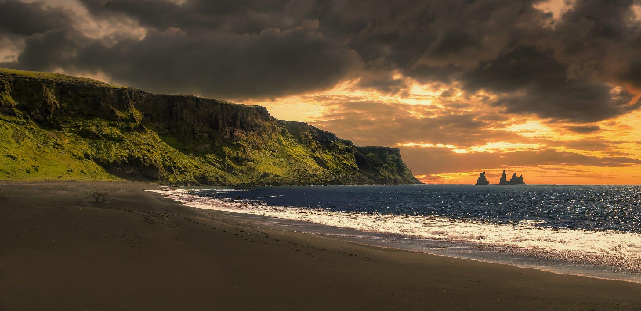 Free stock photo of beach, Black Beach, clouds, dark beach