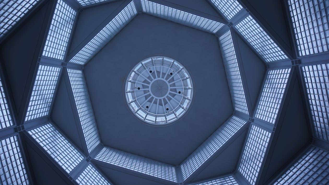 Hexagonal Blue Roof Wallpaper