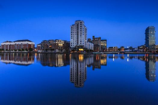 Free stock photo of city, night, water, skyline