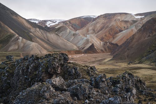 Valley with colorful volcanic mountains Landmannalaugar in Iceland