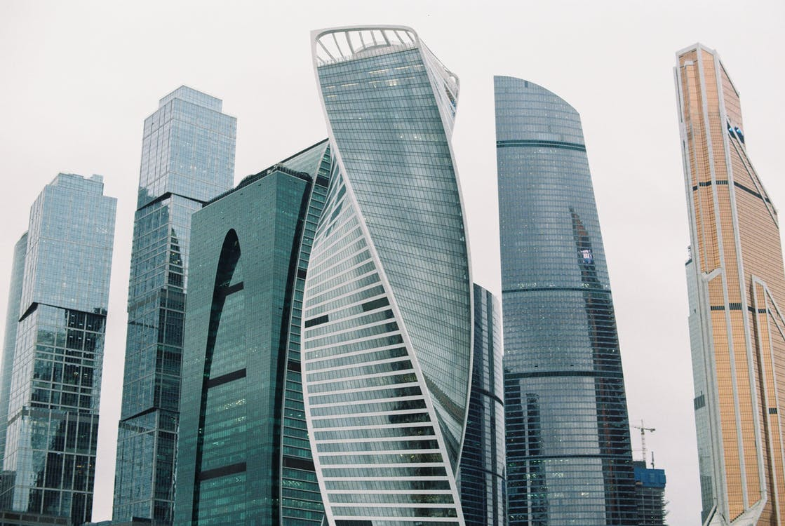 Modern buildings in city district of megapolis
