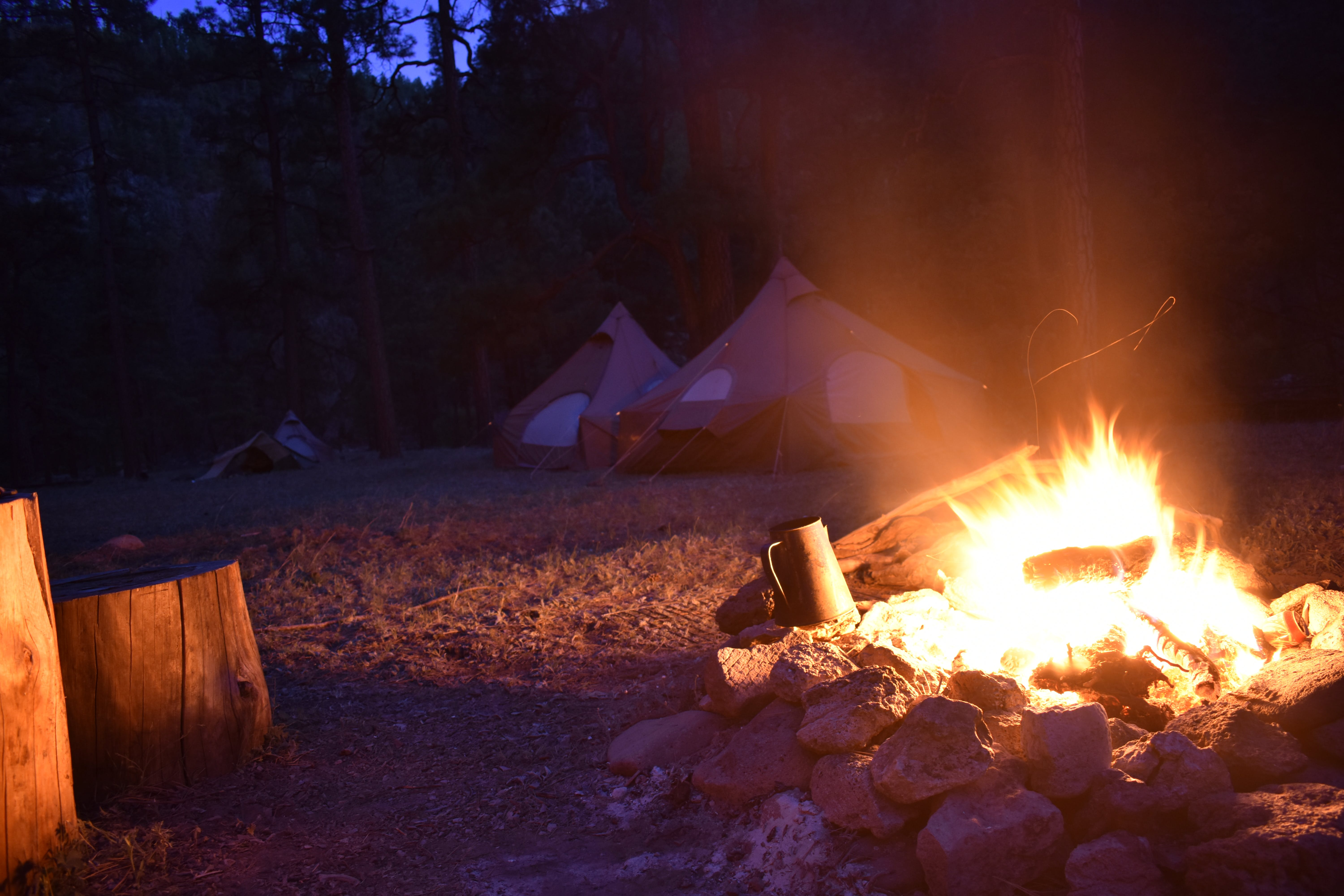 campfire, camping, coffee