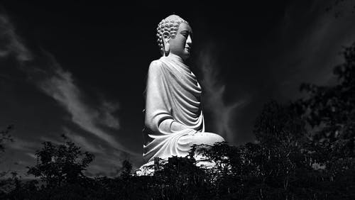 Grayscale Photo of Angel Statue
