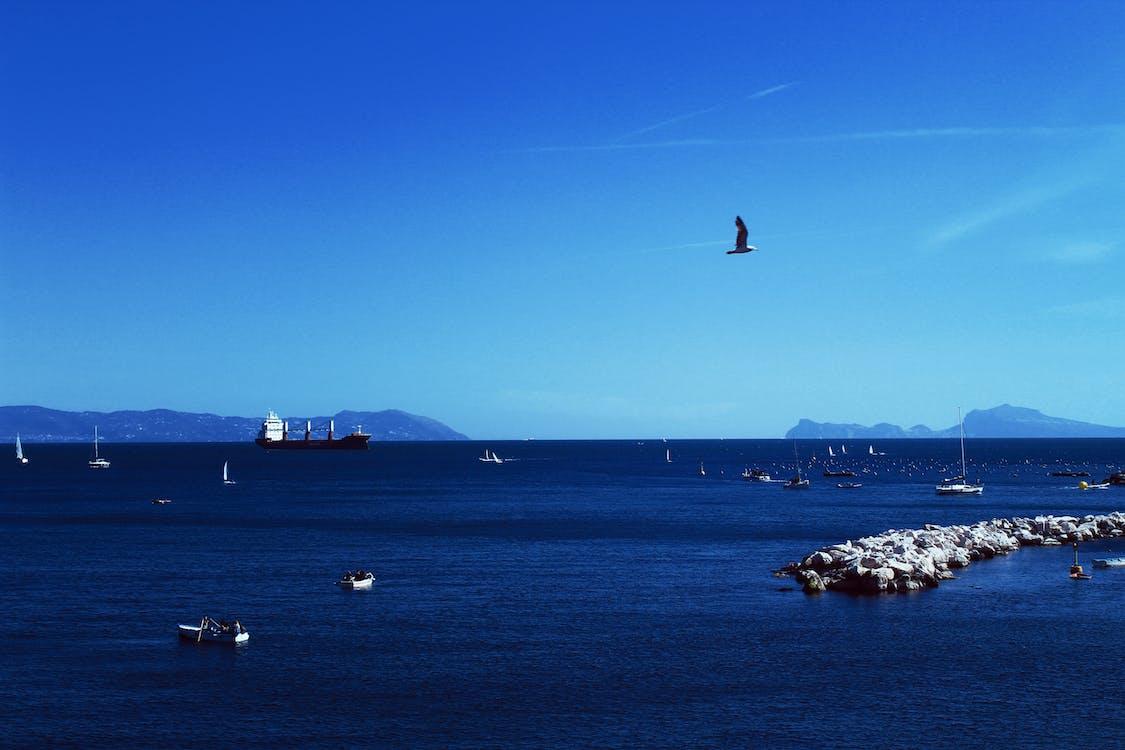 azul, barca, cielo