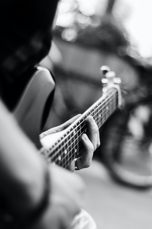 band, black-and-white, blur