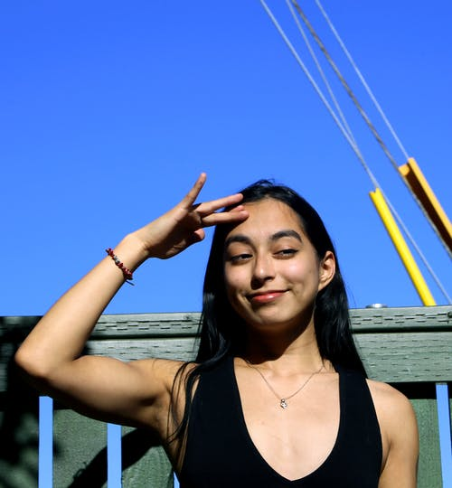 Free stock photo of blue sky, cool, girl
