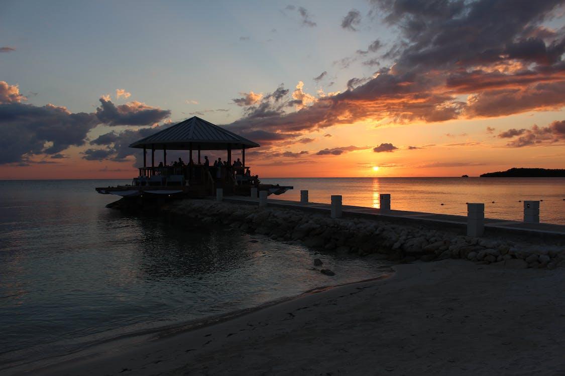 傍晚的太陽, 日落, 海灘