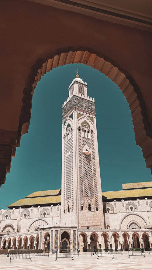 Famous ornamental facade of Hassan II mosque