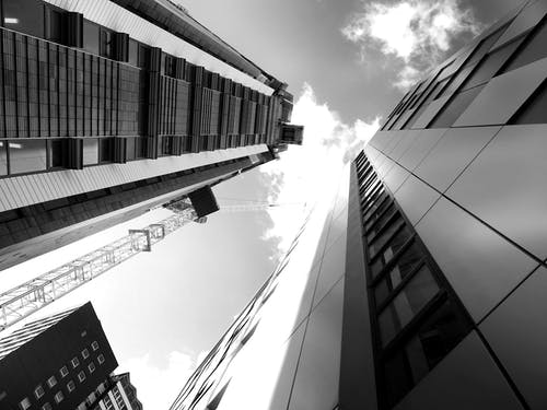 Grayscale Photography of Glass Buildings