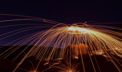 Long Exposure Photo of a Person with a Sparkler
