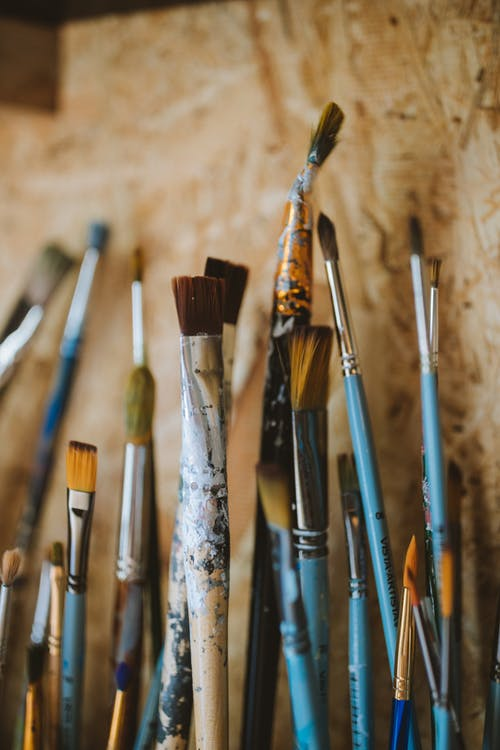 Blue and Brown Paint Brushes
