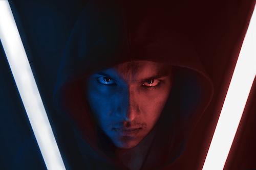 Man in Blue Hoodie With Blue Eyes