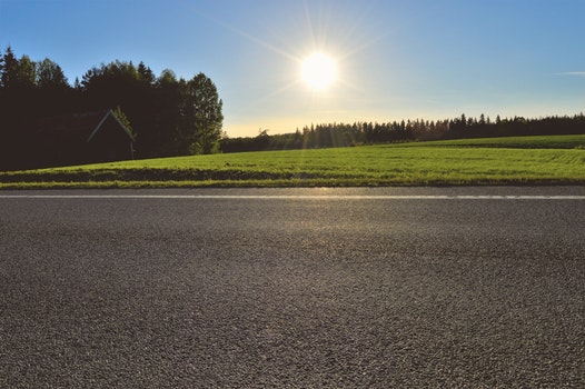 Free stock photo of road, sky, sunset, field