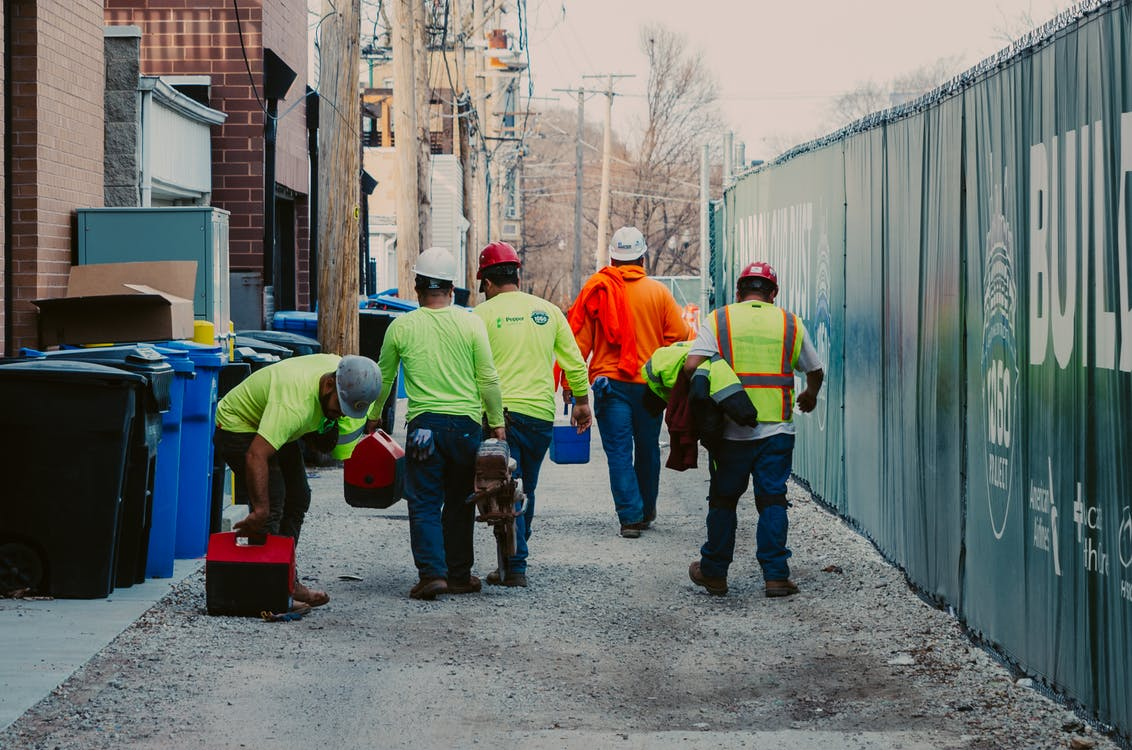construction, construction workers, high visibility