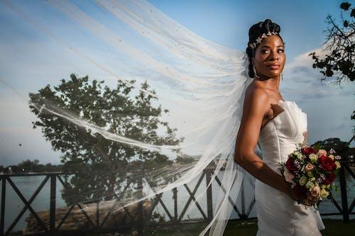 A Woman Looking Elegant in Her Wedding Dress