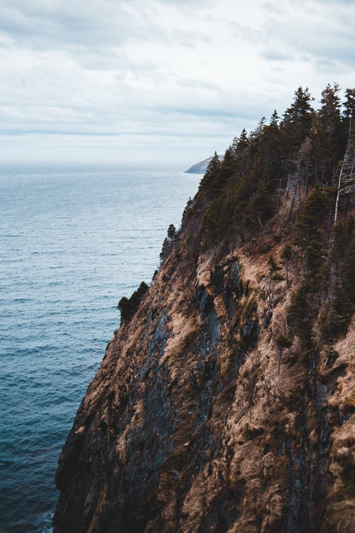 Scenery of massive rocky cliff slope with coniferous woods on summit against rippling endless sea under cloudy sky