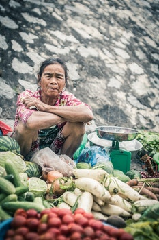 Free stock photo of vegetables, woman, sitting, face