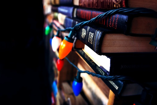 Free stock photo of lights, dark, books, indoors