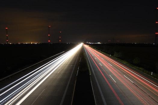 Free stock photo of light, traffic, night, freeway