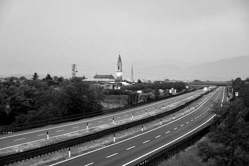 Free stock photo of bell tower, black and white, church, countryside