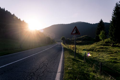 Free stock photo of golden hour, green, mountain, street