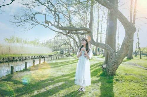 Photo of Woman Wearing White Dress While Standing Near Bare Trees