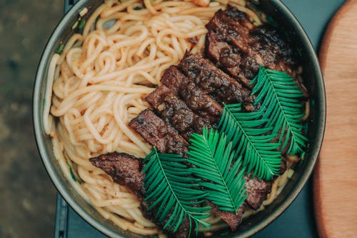 Top View Photo of Noodles With Meat