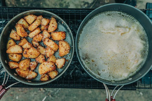 Top View Photo of Fried Food on Pan